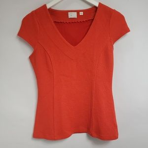 Anthropologie Postmark Orange Bubble Crepe Blouse